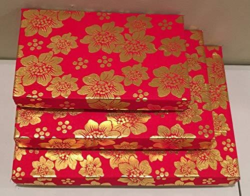 15 Rectangular Gift Boxes, Indian Weddings, Diwali Gift, Fancy Gift Box, Indian Sweet or Mithai Box, Party Favors, Mehndi & Sangeet Gifts, Ramadan, Eid, Christmas (Red)