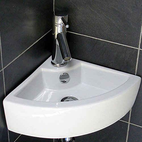 WaaGee Wall-Mounted Corner Sink Porcelain Ceramic Basin Vessel Vanity Sink