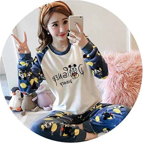 Show-Show-Fashion Women Long Sleeve Winter Pajama Sets Round Neck Flannel Pajamas Warm Sleepwear Women,White-Blue Disney,XXL