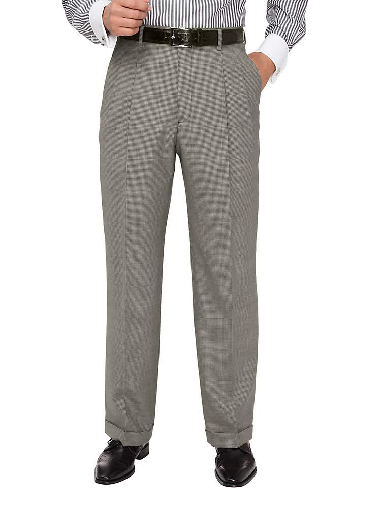 Paul Fredrick Men's Wool Houndstooth Pleated Suit Pant Black/Grey 46