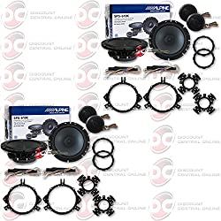 "4 X Alpine Sps-610c 6.5"" 2-way Car Audio Component Speakers System"