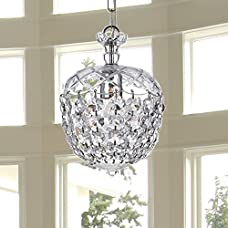 """Saint Mossi Crystal Chandelier Glass Dish Modern & Contemporary Ceiling Pendant Light 1 E12 Bulb Required H12"""" X D8"""""""