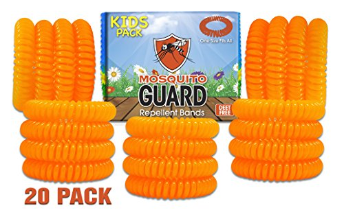(Mosquito Guard Kids Repellent Bands/Bracelets (20 Individually Packed Bands) Made with Natural Plant Based Ingredients - Citronella, Lemongrass Oil and Geraniol. DEET Free.)