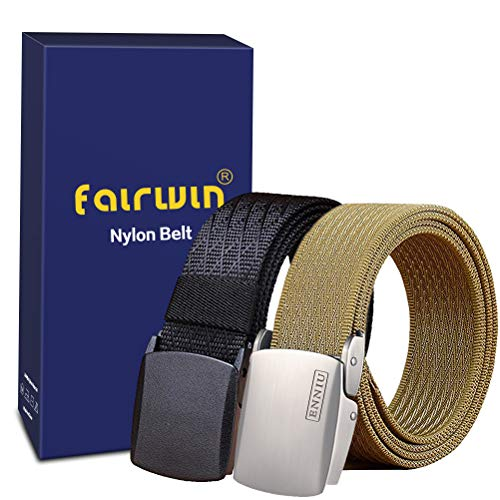 Fairwin Men's Military Tactical Web Belt, Nylon Canvas Webbing YKK Plastic/Metal Buckle Belt (Tan+Black, Custom to waist 45