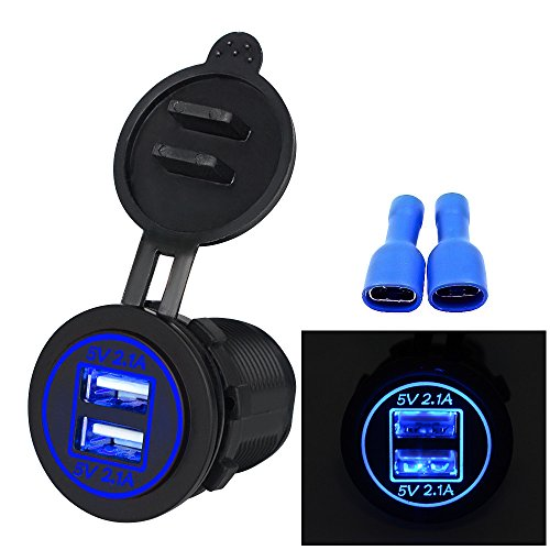Price comparison product image CMrtew 12V 4.2A Dual USB Charger Socket Waterproof Power Outlet with Red LED Indicator Light & Dual Charging Ports for 12V Car RV Boat Marine Motorcycle Mobile (Blue