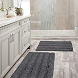 Grey Bath Mat Ultra Thick and Soft Texture Chenille Plush Striped Floor Mats Hand Tufted Bath Rug with Non-slip Backing Microfiber Door Mat for Kitchen/Entryway (Pack 2-20'' x 32''/17'' x 24'')