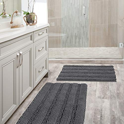 Rug Floor Mat Tufted (Grey Bath Mat Ultra Thick and Soft Texture Chenille Plush Striped Floor Mats Hand Tufted Bath Rug with Non-slip Backing Microfiber Door Mat for Kitchen/Entryway (Pack 2-20