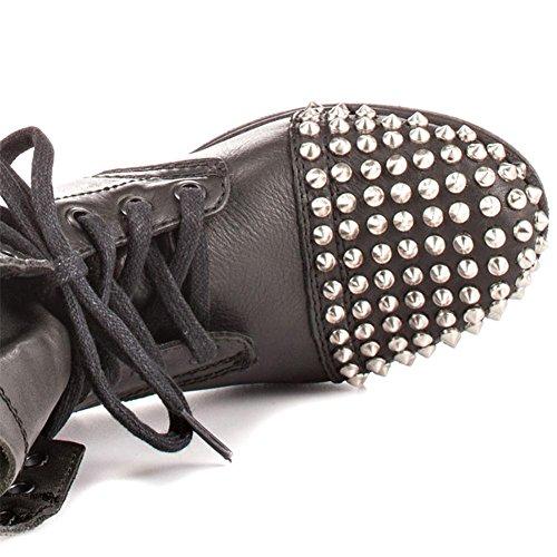 Femmes Round Lace Chaussures Hiver Martin Court Bottes BLACK Cuir Cheville NVXIE up Printemps Tête Rivet EUR35UK3 Noir Automne Plat Hnq0dpW
