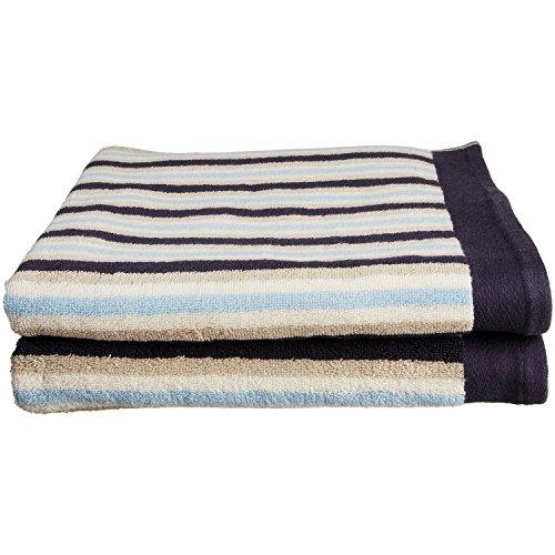 Superior Collection LuxuriousStripes100% Premium Combed Cotton 2-Piece Bath Towel Set, (Pure Cotton Stripe Towel)