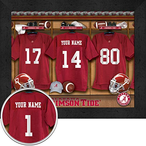 Alabama Crimson Tide University Football Team Locker Room Personalized Jersey Officially Licensed NCAA Sports Photo 11 x 14 Print ()