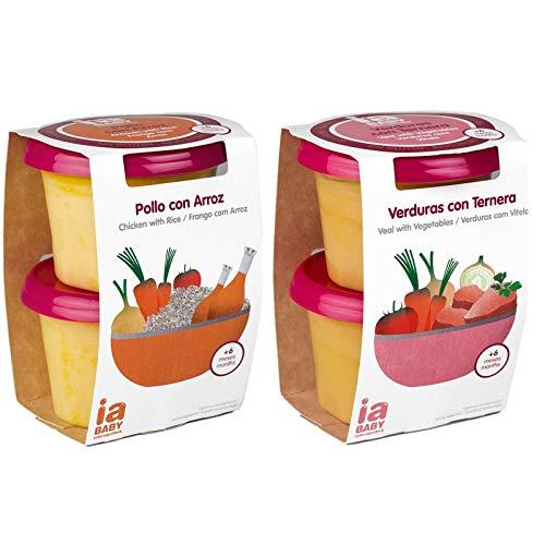 Tarritos de pollo con arroz + ternera con verdura IA - 4 tarritos ...