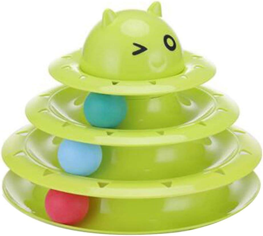 LouiseEvel215 Cat Carrusel de Juguetes de Tres Capas Pista de Tenis de Mesa giradiscos Pet Cat Play Board Puzzle Cartoon Cat Turntable