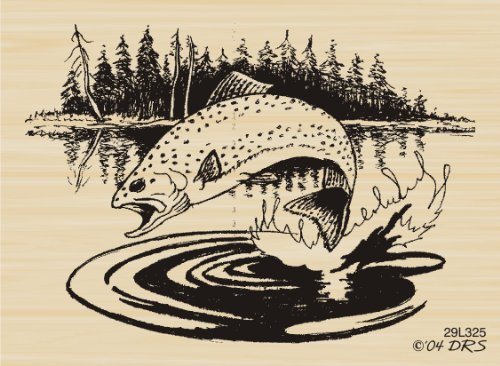 Jumping Fish Rubber Stamp By DRS Designs
