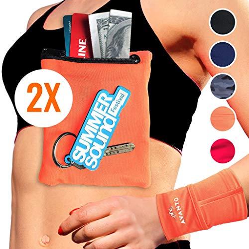 Hidden Wristlet - AVANTO Ninja Wrist Wallet, Ankle Wallet, Sweat Bands, Armband, Hidden Pouch, Wristlet Wallet for Travel, Running Pouch for Your Running Accessories, 2-Pack (M/L)