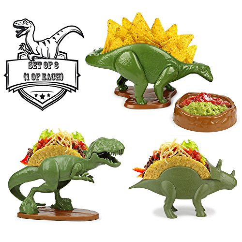TriceraTACO Taco Holder, TACOsaurus Rex Holder, NACHOsaurus Dip and Snack Dish Set Dinosaur Plates Party Pack, Set of 3