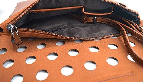 Adjustable Handbag Clutch Brown PU Women's Shoulder Perforated QZUnique Bag Leather gYXxwa