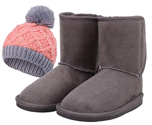 Kids Boots Beanie Set Plush Sherpa Lined Winter Boots, Charcoal, 3