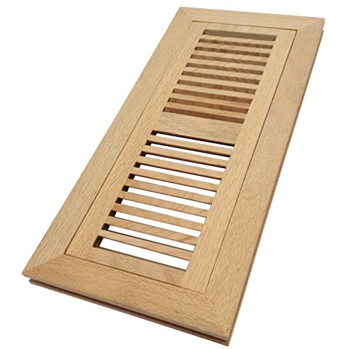 Homewell White Oak Wood Floor Register Vent, Flush Mount with Frame, 4x12 inch, Unfinished by Homewell