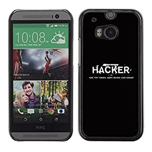 Design for Girls Plastic Cover Case FOR HTC One M8 Hacker Black White Text Computer Hacking OBBA
