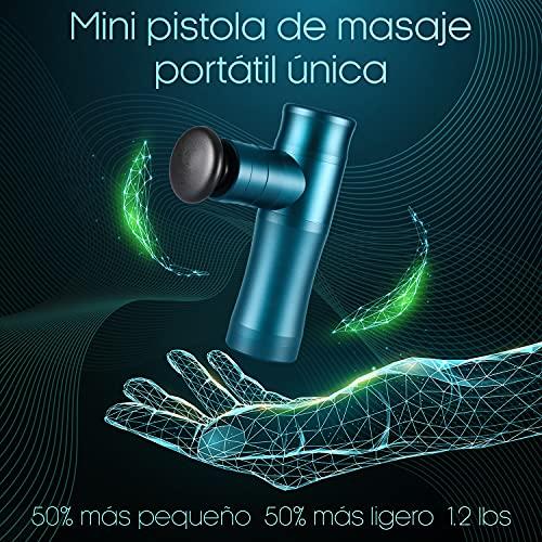 Pistola de Masaje Muscular Mini, Masajeador Portátil de Percusión de Tejido Profundo, Mini Pistola Masaje Masajeadora Muscular, Batería 2600 mAh, 3200RPM/MIN, Cuerpo de Aleación de Aluminio