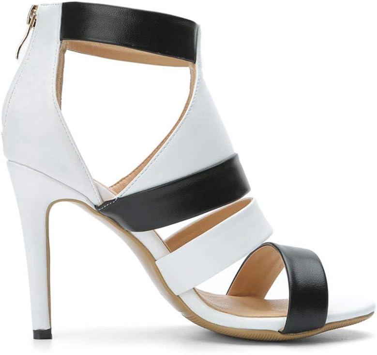 ODOKAY Fashion Ladies Sandal Summer Shoes Woman White Black Open Toe Zip High Heel Sandals