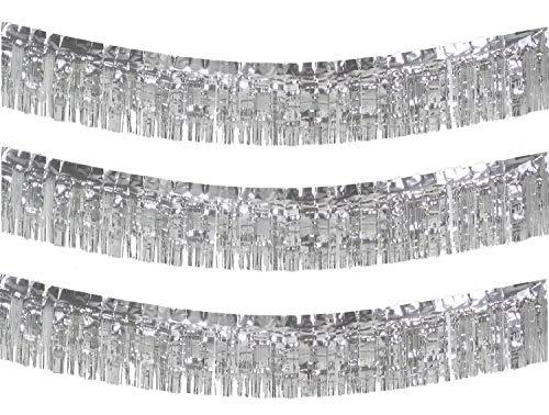 10 Feet Long Roll Silver Foil Fringe Garland - Pack of 3 | Shiny Metallic Tassle Banner | Ideal for Parade Floats, Bridal Shower, Wedding, Birthday | Wall Hanging Fringe Garland Banner