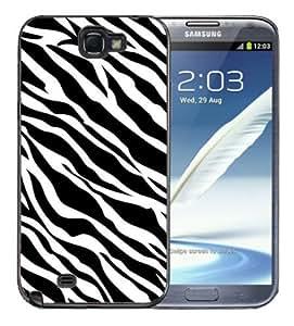 Samsung Galaxy Note 2 Black Rubber Silicone Case - Zebra Pattern Print Faux Animal Pattern