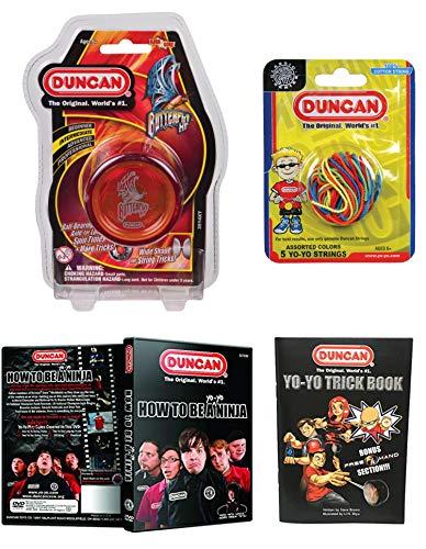 Duncan Intermediate YoYo Kit (4 Items) - Red Butterfly XT Yo-Yo, Multi-Color Yo-Yo String 5 Pack, Yo-Yo Trick Book, and How to Be A Yo-Yo Ninja DVD