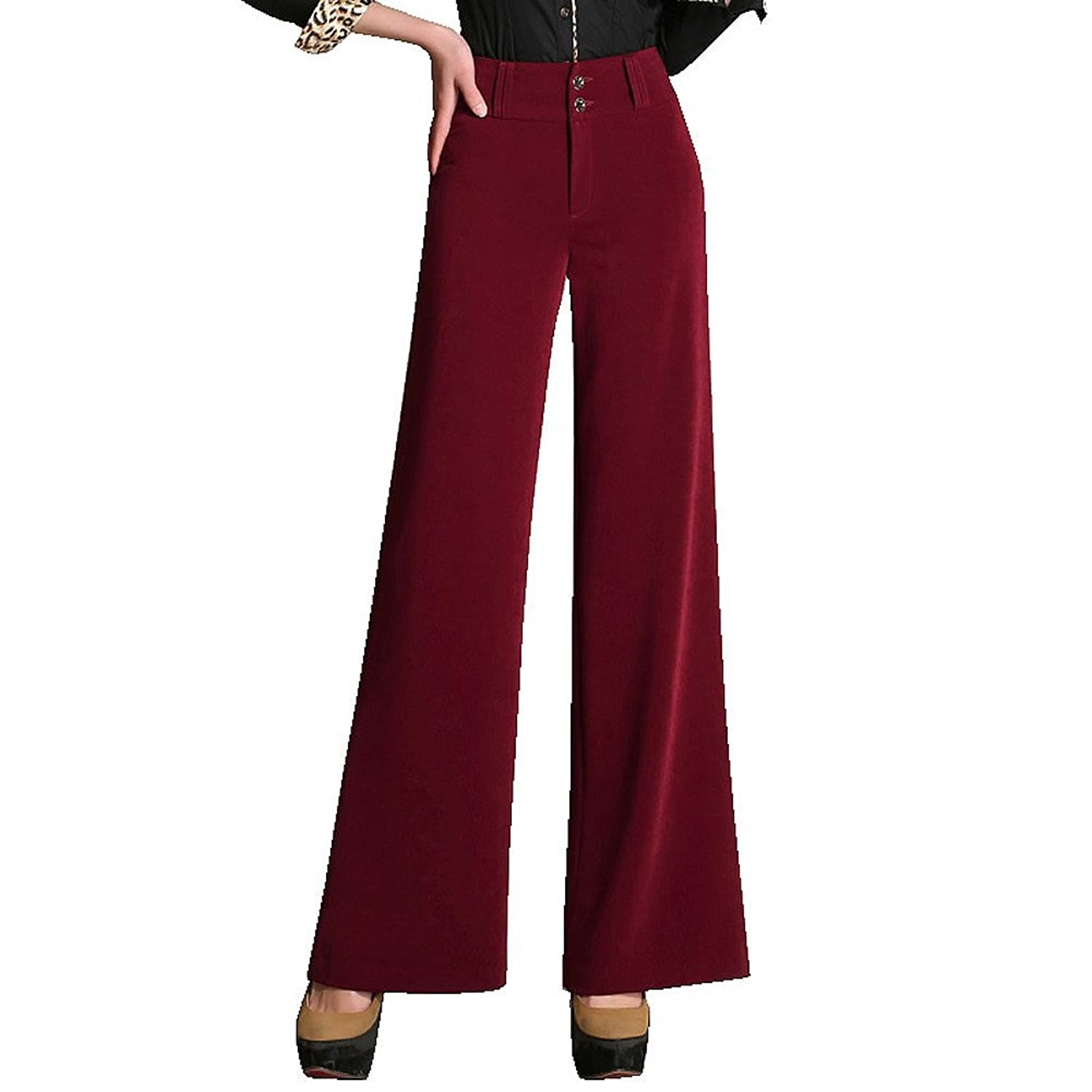 Women's High Waist Wide Leg Trousers 2 Buttons Dress Pants 5 Colors Size 27-35