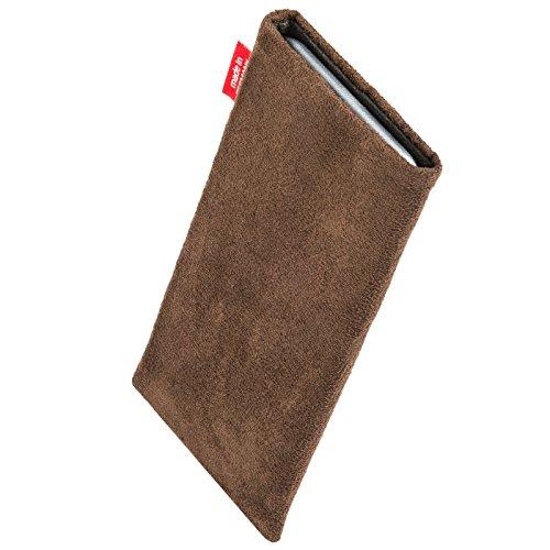 fitBAG Country Marron housse pochette pour téléphone portable - cuir suède synthétique - intérieur en microfibres pour Apple iPhone 6 / 6S / 7 avec Apple Silicon Case