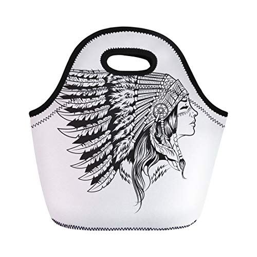 Semtomn Lunch Tote Bag Native American Indian Girl in National Headdress Cherokee Woman Reusable Neoprene Insulated Thermal Outdoor Picnic Lunchbox for Men Women -