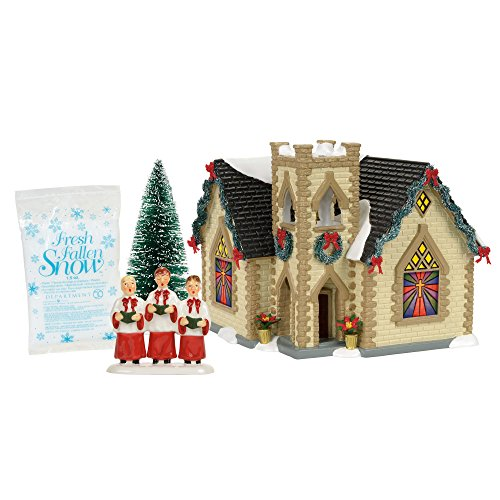 Golden Snow - Department 56 Snow Golden Cross Church Village Boxed Set, Multicolor