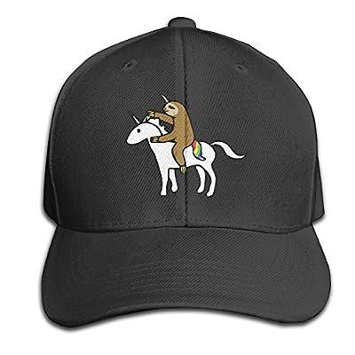 VXUeiq Funny Sloth Riding Unicorn Adult Adjustable Snapback Hat Sandwich Peaked Trucker Cap Baseball Cap Unisex Black