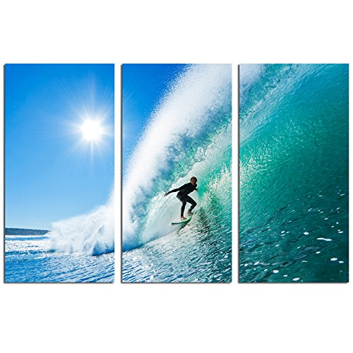 Live Art Decor -Seascape Canvas Wall Art,Surfer on Amazing Blue Wave Picture Photo Print on Canvas,Home Wall Decor,Framed 3 Panel Art Print- 36