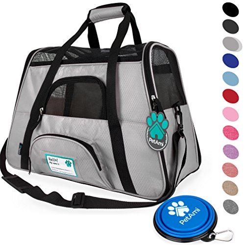 (PetAmi Premium Airline Approved Soft-Sided Pet Travel Carrier | Ventilated, Comfortable Design with Safety Features | Ideal for Small to Medium Sized Cats, Dogs, and Pets (Small, Light Gray))