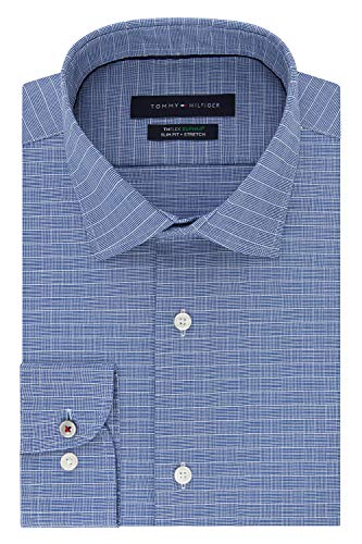 Tommy Hilfiger Men's Dress Shirt Slim Fit Stretch Check, New Navy, 16.5