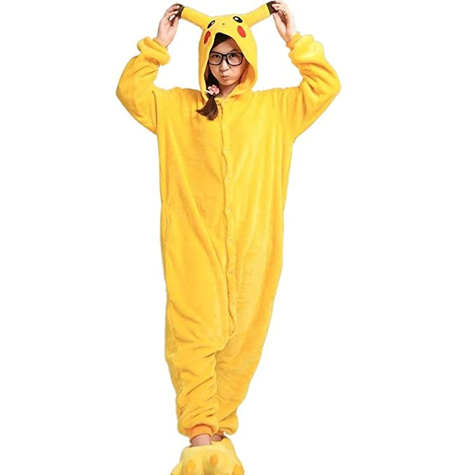 Super9Cos Pokemon Pikachu Kigurumi Pijamas Adulto Anime Cosplay de Halloween para Mujer, Talla L (