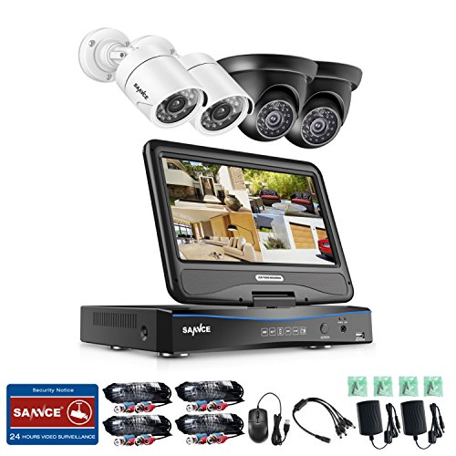 "SANNCE Wired Security Camera System 4CH with 10"" Monitor Hom"