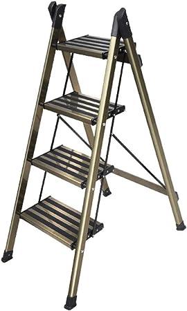 DZWSD Escalera de Aluminio Liviana de Escalera 2/3/4 peldaños con Escalera Antideslizante Resistente y de Pedal Ancho para fotografía, hogar y Pintura 150 kg (Color champán): Amazon.es: Hogar