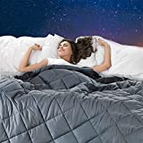 Weighted Blanket(12 lbs, 48''x72'', Twin Size),Bed Couch Heavy Blanket with 100% Cotton Material and Glass Beads for Kids and Adult-Dark Grey