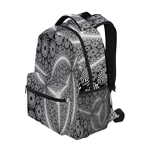 (KVMV Artistic Black & White Digital Fractal Pattern Lightweight School Backpack Students College Bag Travel Hiking Camping Bags )