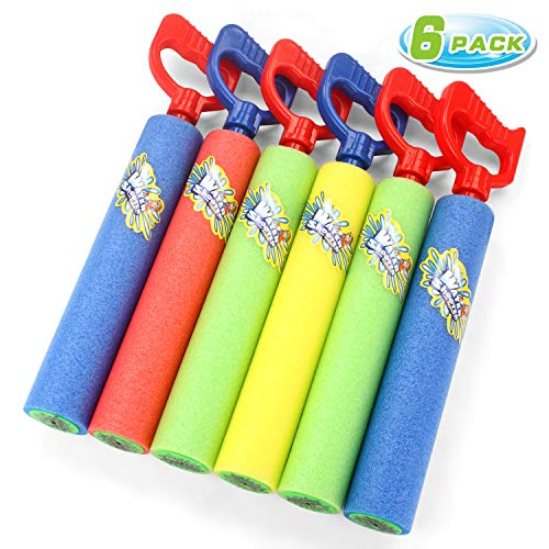 Fun-Here Water Guns Shooter 6 Pack, Super Foam Soakers Blaster Squirt Guns, Pool Noodles Toy with Plastic Handle Summer Swimming Beach Garden Fighting Game,Outdoor Toys for Kids Boys Girls Adults