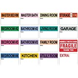 800 Extra Large Home Moving Labels 2 x 3 Inches - Colored Label Supplies for Boxes, Packing & Box Stickers (80 Sheets, 4 Bedroom House) with 5 Sheets of Empty White Label for Customization