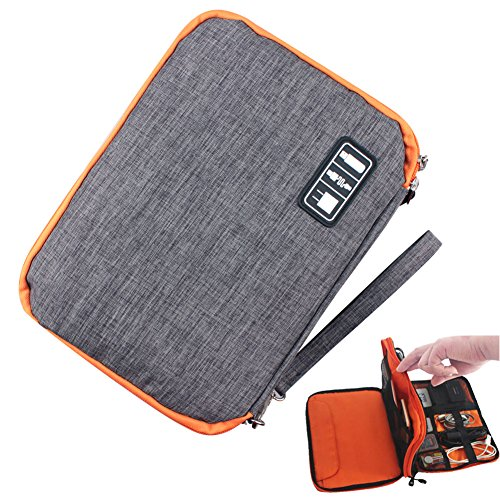 Cable Organizer bag, SUNNIOR Double Waterproof Travel Electronics Accessories Storage ()
