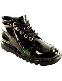 Unisex Kids Youth Kickers Kick Hi Black Patent Back To School Boots Shoes 2c94713883f6