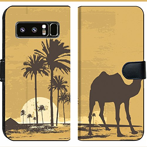 Samsung Galaxy Note 8 Flip Fabric Wallet Case Image ID: 919091 Illustration of Sunset in African Desert Camel and Palms on Grunge bac ()