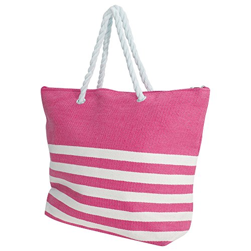 Womens Handbag Stripe Pink Summer White Straw Ladies FLOSO Woven Pattern Hw0dHE