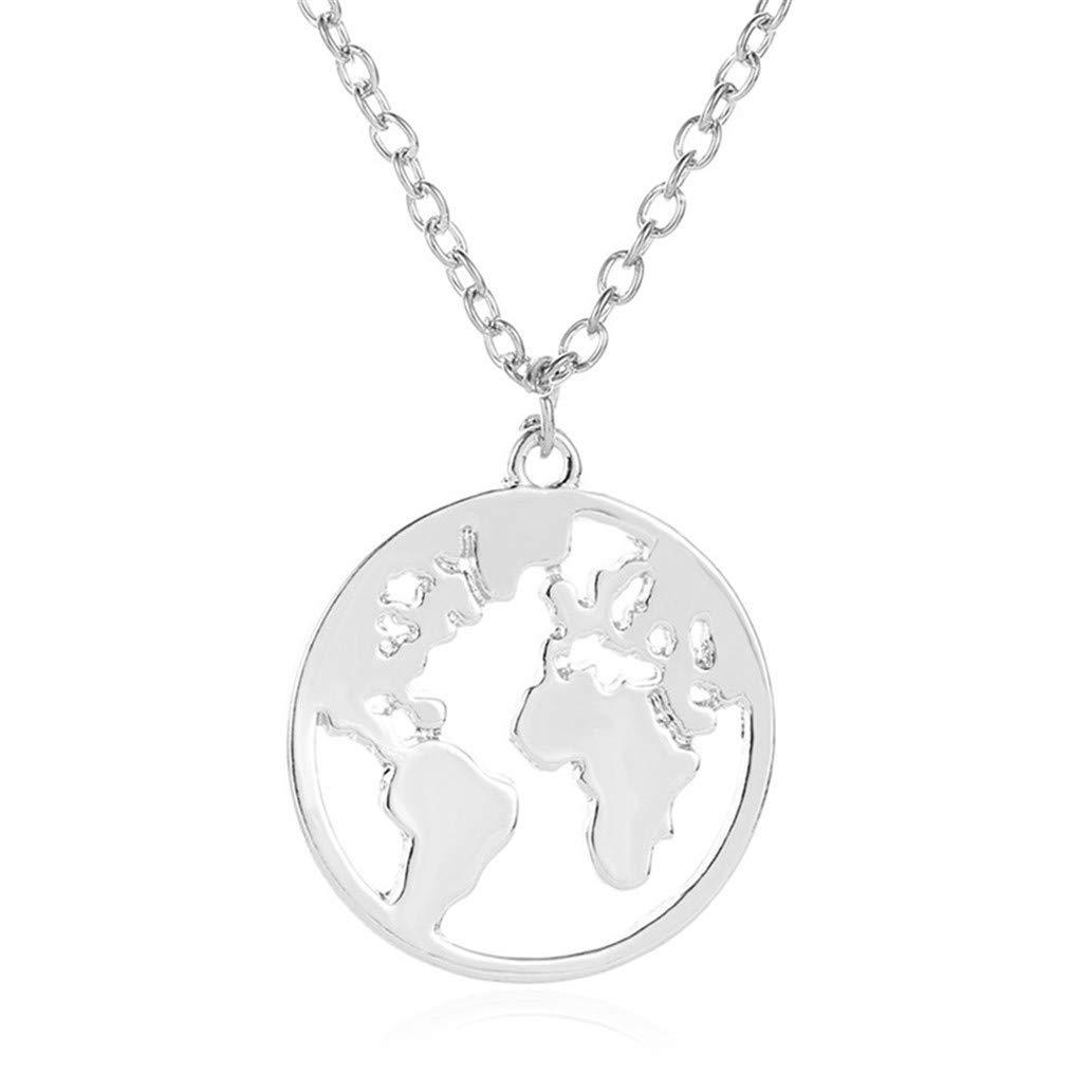 KISSFRIDAY Vintage Round World Map Necklace Women Geometric Earth Globe Map Necklace Pendants Choker Jewelry,black