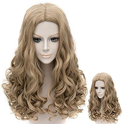 Falamka marrón pelo largo estilo princesa Cenicienta Rizado Cosplay Peluca
