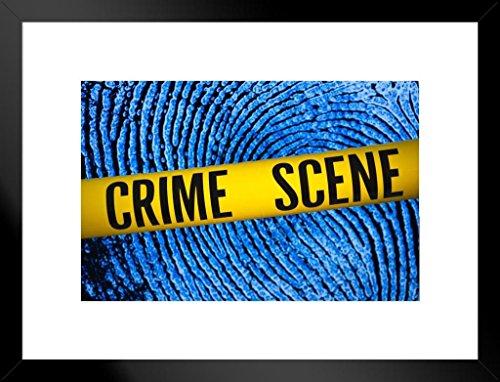 Poster Foundry Crime Scene Tape Fingerprint Background Matted Framed Art Print Wall Decor 26×20 inch